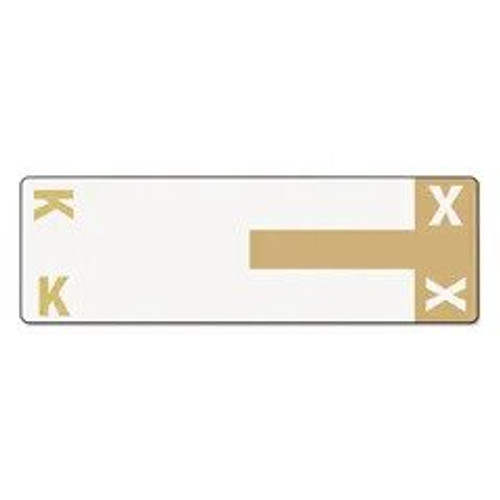 AmeriFile Alpha-Z Compatible Alpha Name Labels - Letter KX - Brown - 3 5/8 W x 1 1/8 H - Package of 100 Labels