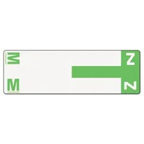 AmeriFile Alpha-Z Compatible Alpha Name Labels - Letter MZ - Green - 3 5/8 W x 1 1/8 H - Package of 100 Labels