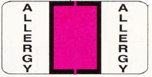 """Allergy"" Labels - 1 1/2 W x 3/4 H - Fluorescent Pink - Sheets for ring binder - 240 Labels per Package"