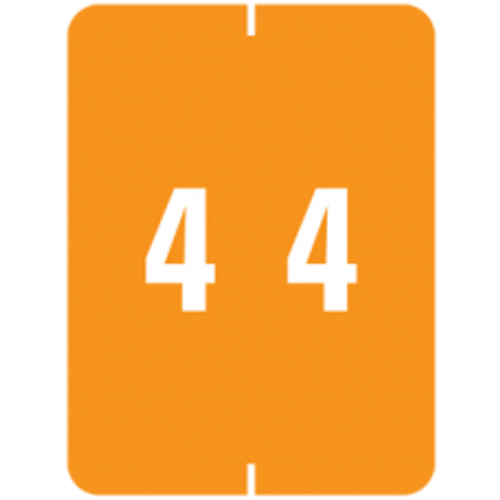 """AmeriFile Smead Compatible XLCC X-Ray Color-Coded Clear-laminated Numeric Labels - Number 4 - 1-1/2"""" W x 2"""" H -  Orange - Roll of 500"""