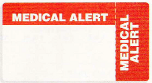"AmeriFile Eye-Catching, Wrap-Around Labels - Medical Alert - Red - 3 1/4"" x 1 3/4"" - Roll of 500"