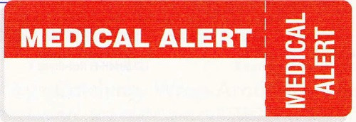 "AmeriFile Eye-Catching, Wrap-Around Labels - Medical Alert - Red - 3 "" x 1 "" - Roll of 250"