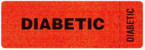 """AmeriFile Eye-Catching, Wrap-Around Labels - """"Diabetic"""" - Red - 3 """" x 1 """" - Roll of 250"""