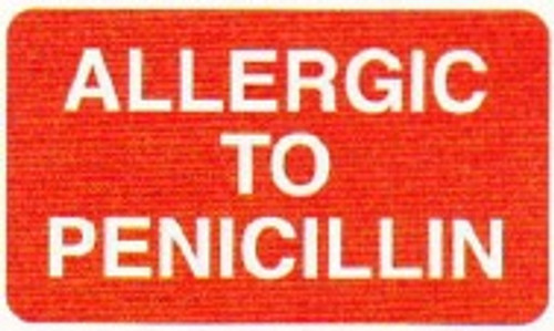 "AmeriFile Medical Alert and Allergy Labels -Allergic To Penicillin - Red - 1 5/8"" x 7/8 "" - Roll of 250 - LCL2138H"