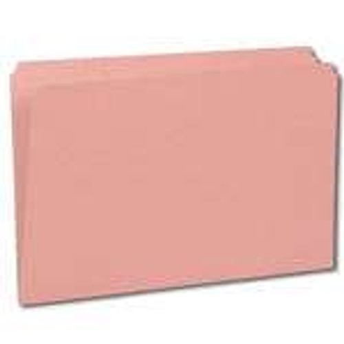 Top Tab File Folder, Pink, Legal Size, Fastener in Position 1, 11 pt Stock, Reinforced Tab, Straight Cut - 100/Box