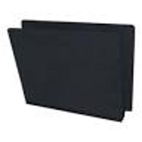 End Tab Pressboard Folder w/ 1 Kraft divider - Color, Black with Grey Tyvek Expansion Tape - Letter Size - Box of 10