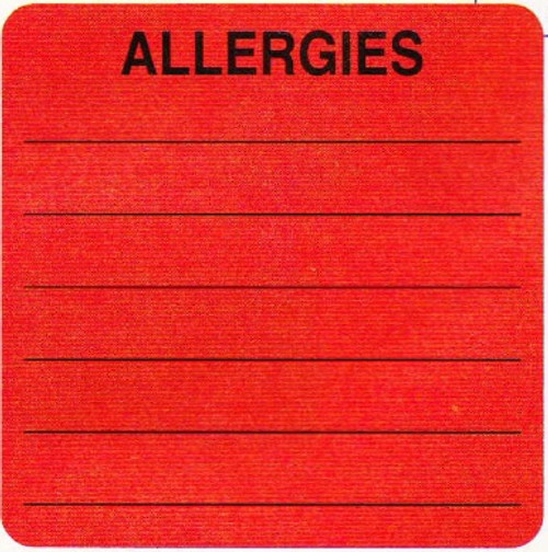 "AmeriFile ""Allergy"" Label  - Fl Red -  2"" x 2""  - Roll of 250"