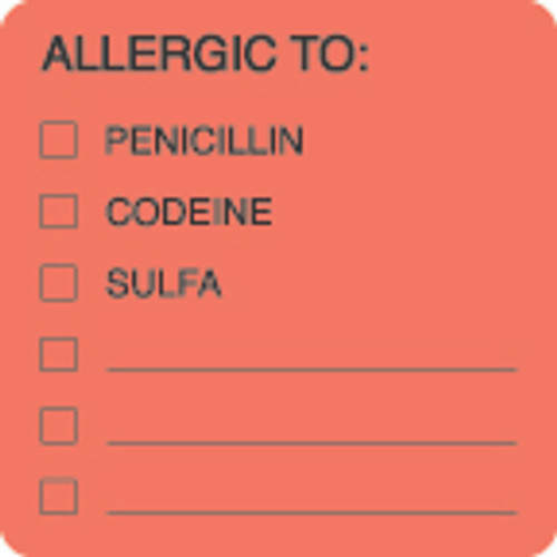 "AmeriFile Allergy Label - Allergic To: Penicillin, Codeine, Sulfa Label - Fl Red - 2"" x 2"" - LCL4001 - Roll of 250"