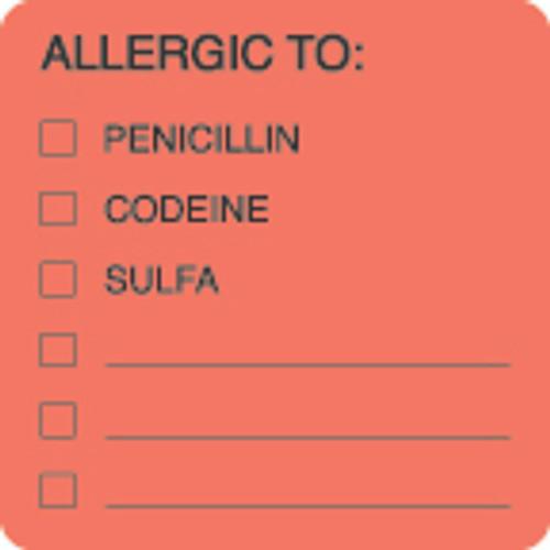 """AmeriFile Allergy Label - Allergic To: Penicillin, Codeine, Sulfa Label - Fl Red - 2"""" x 2"""" - LCL4001 - Roll of 250"""