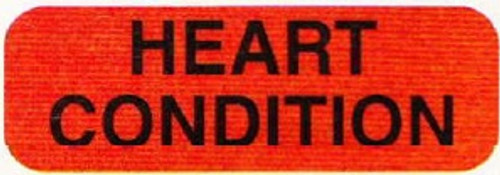 """AmeriFile Medical Labels - """"Heart Condition"""" - 1 1/4"""" x 5/16"""" - Fl. Red - 500/Box"""