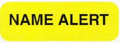 """AmeriFile Medical Labels - """"Name Alert"""" - 1-1/4"""" x 5/16"""" - Fl Yellow - LCL1009 - Roll of 500"""