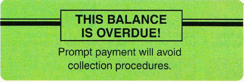 """AmeriFile Insurance and Billing Labels - This Balance is Overdue - 3"""" x 1"""" - Fl Green - LCL5006H - Roll of 250"""