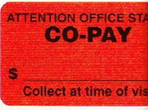 """AmeriFile Insurance and Billing Labels - Co-Pay - 1 5/8"""" x 7/8"""" - Fl Red - LCL2069 - Roll of 500"""