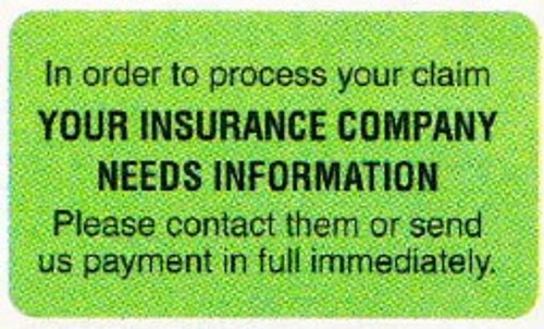 """AmeriFile Insurance and Billing Labels - Your Insurance Company - 1 5/8"""" x 7/8"""" - Fl Green - LCL2046H - Roll of 250"""