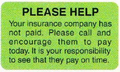 """AmeriFile Insurance and Billing Labels - Please Help - 1 5/8"""" x 7/8"""" - Fl Green - LCL2057H - Roll of 250"""