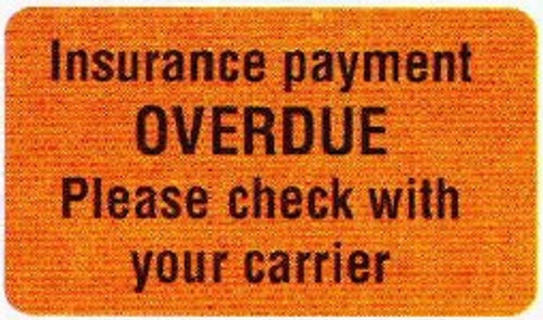 "AmeriFile Insurance and Billing Labels - Overdue - 1 5/8"" x 7/8"" - Fl Orange - LCL2058H - Roll of 250"