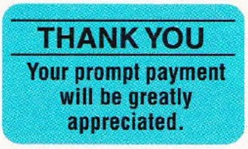 """AmeriFile Insurance and Billing Labels - Thank You - 1 5/8"""" x 7/8"""" - Lt Blue - LCL2149 - Roll of 500"""