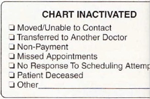 """AmeriFile Chart Labels - Chart Inactivated - 3 1/4"""" x 1 3/4"""" - White - LCL6027H - Roll of 250"""