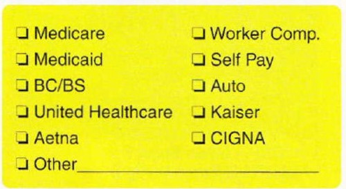 "AmeriFile Chart Labels - Medicare - 3 1/4"" x 1 3/4"" - Fl Yellow - LCL6035H - Roll of 250"