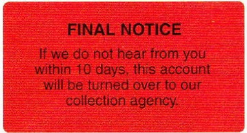 "AmeriFile Labels - Final Notice - 3 1/4"" x 1 3/4"" - Fl Red - LCL6014 - Roll of 500"