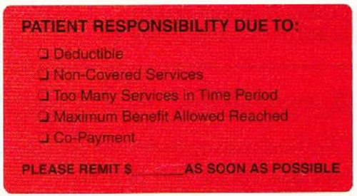 """AmeriFile Labels - Patient Responsibility Due To - 3 1/4"""" x 1 3/4"""" - Fl Red - LCL6020H - Roll of 250"""
