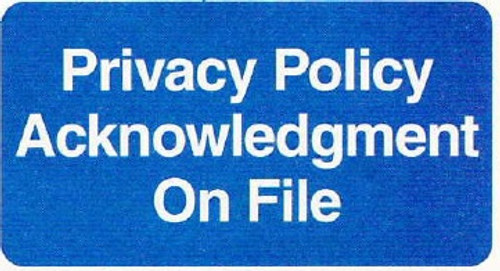 """AmeriFile HIPAA Chart Labels - 'Privacy Policy Acknowledgement On File' - 2"""" x 1"""" - Blue - LCL2186H - Pack of 252"""