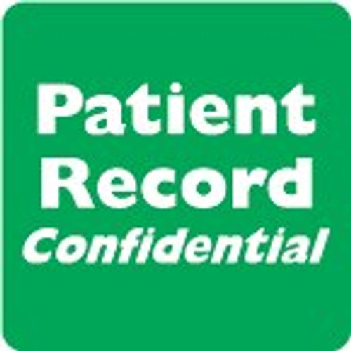 """AmeriFile HIPAA Chart Labels - """"Patient Record Confidential"""" - 2"""" x 2"""" - Green/White - Roll of 500"""