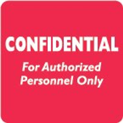 """AmeriFile HIPAA Chart Labels - """"Confidential For Authorized Personnel Only"""" Label - Red/White - 2"""" x 2"""" - 500/Box"""