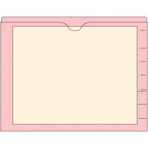 End Tab Pocket Folders with Colored Borders - Closed on 3 Sides, Top Opening - 11 Pt Stock - 2 Ply Tab - Pink - Box of 100