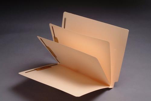 Economy End Tab Manila Divider Folder - 11 Pt. Manila, Full Cut End Tab, Letter Size, 2 Dividers Installed (Box of 25)