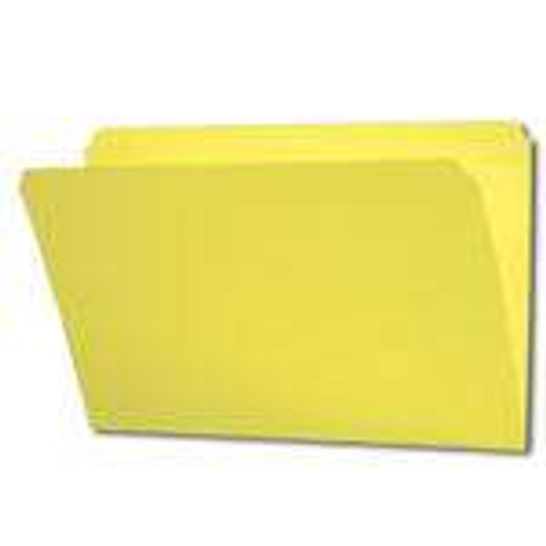 YELLOW LEGAL Size Top Tab File Folder With Fastener in Position 1 - Reinforced Straight Cut Tab - 11 Pt. Stock - 50/Box