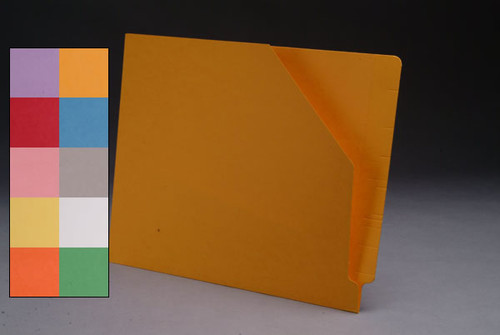 Colored End Tab Pocket Folder with Slant Cut Pocket, Full Cut End Tab, Letter Size - Available in 10 Colors - 100/Box