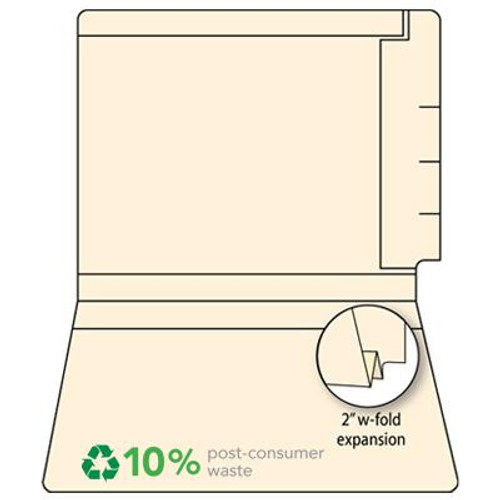 "End Tab File Folder with 2"" W-Fold Expansion - 14 Pt. Manila - Fasteners in Positions 3 & 5 - Ames Compatible - 150 Carton"