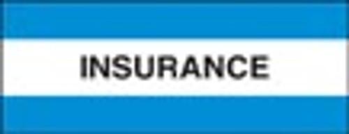 "Patient Chart Index Tabs - ""Insurance"" - Light Blue - Size 1-1/2""H x 1-1/2""W - 102 Labels Per Pack"