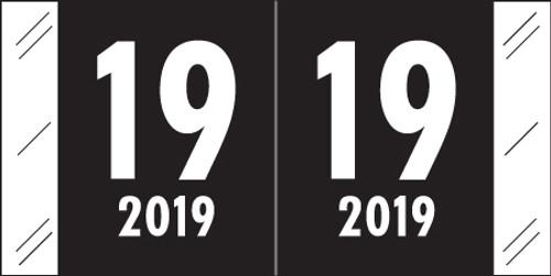 "Col'R'Tab Yearband Label - 2019 - Black - CRYM Series - 3/4"" H x 1 1/2"" W - Laminated - 500/Roll"