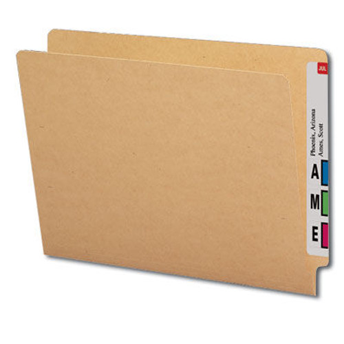 End Tab Folder, 11 Pt. Kraft Brown Colored Stock - Letter Size - Reinforced Tab - Bonded Fasteners in Positions 3 & 5 - 100/Box