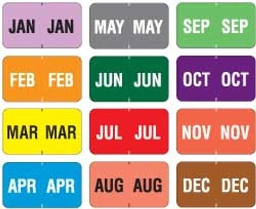"Jeter Month Label Set Convenience Pack - Jan-Dec - 1-5/8"" W x 15/16"" H - 18 Labels for Each Month"