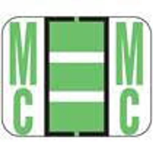 "Smead Alphabetic Labels - BCCR Series (Rolls) ""Mc""- Fluorescent Green - 1"" H x 1 1/4"" W - 500/Roll"