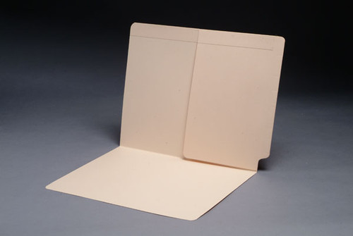 End Tab Folder with Half Size Pocket on Inside Back - 11 Pt. Manila Stock - Full Cut Tab - Letter Size - 50/Box