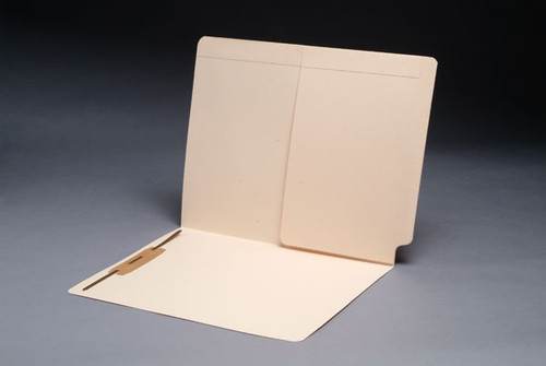 End Tab Folder with Half Size Pocket on Inside Back - Fastener in Position 3 - Full Cut Tab - Letter Size - 11 Pt. Manila Stock -  50/Box