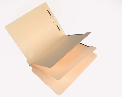 14 Pt. Manila Classification Folders - Full Cut End Tab - Embedded Fasteners in Positions 1 & 3 - Letter Size - 2 Dividers with duo-sided fasteners - Box of 25
