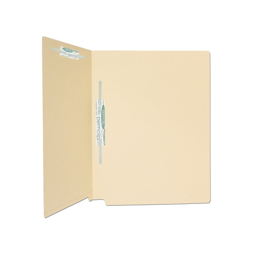 Medical Arts Press Match 14pt Manila Full Cut Reinforced End Tab File Folders with 2 Permclip Fasteners in Positions 3 & 5  (50/Box)