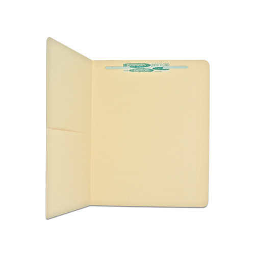 Medical Arts Press Top Tab Letter Size Folder - 11 Pt. Manila File Folders with Half Pocket and 1 Permclip Fastener in Position 1- (50/Box)