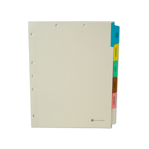 Medical Arts Press Match Medical Chart Index Dividers- 6 Tabs, Letter Size, Manila, Side Tab (65 Sets/Box)