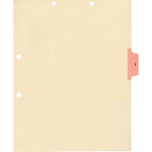 Medical Arts Press Match Colored Side Tab Chart Dividers- Lab, Tab Position 3- Pink (100/Pkg) (56771)