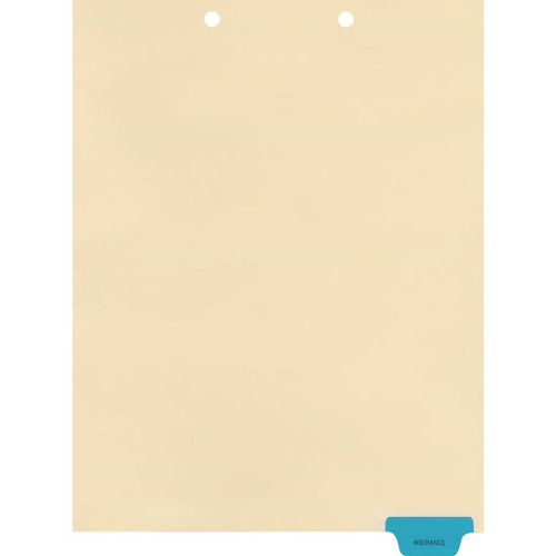 Medical Arts Press Match Colored End Tab Chart Dividers- Insurance, Tab Position 6- Blue (100/Pkg) (56828)