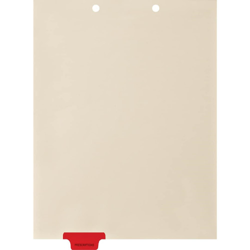 "Medical Arts Press Match Colored Bottom Tab Chart Dividers- ""Prescriptions"" -  Tab Position # 2 - Red (100/Pkg) (56804)"