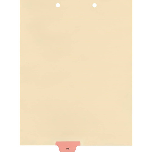 Medical Arts Press Match Colored End Tab Chart Dividers- Lab, Tab Position 3- Pink (100/Pkg) (56806)