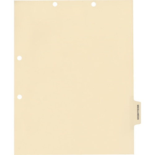 Medical Arts Press Match Colored Side Tab Chart Dividers- Miscellaneous, Tab Position 5- Clear (100/Pkg) (56786)