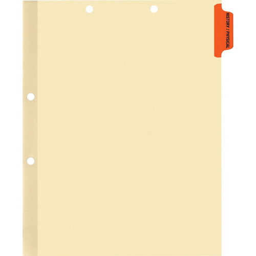 Medical Arts Press Match Colored Side Tab Chart Dividers- History/Physical, Position 1 (100/Pkg) (56758)